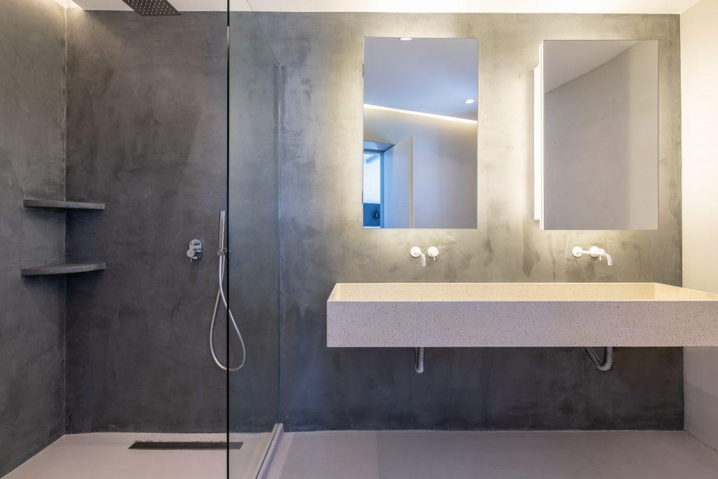 gray-walled glass cabinet with two sinks and mirrors