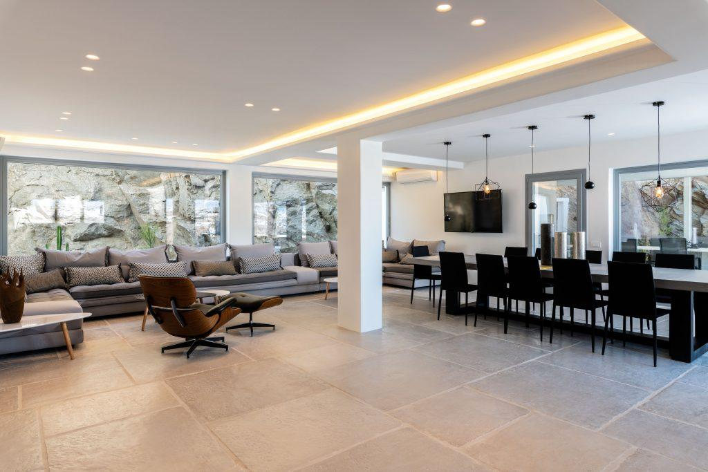 modern designed living room with dining area