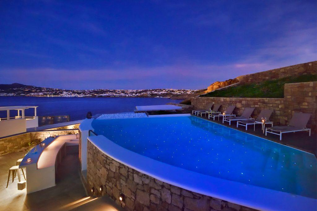 reflection of the starry sky on the pool water ideal for a romantic evening