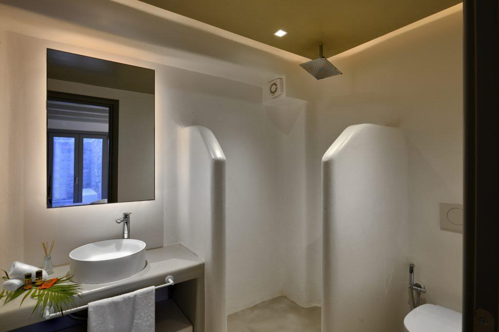 white bathroom walls with illuminated mirror and green leaf details