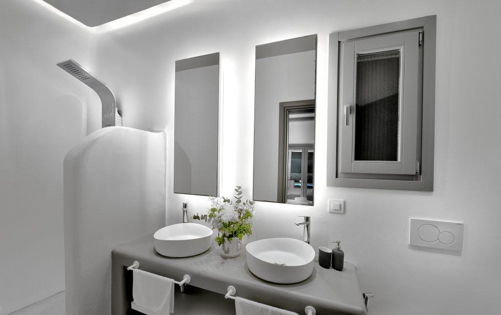 illuminated bathroom with mirrors and decorative flower details