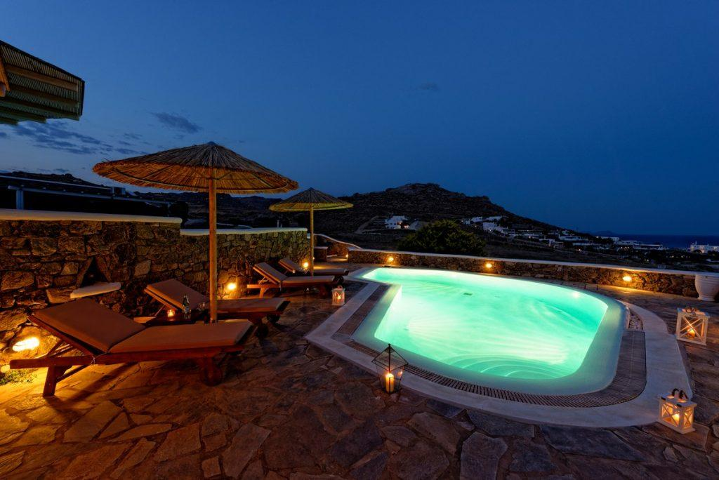 porch pool overlooking sea and island panorama