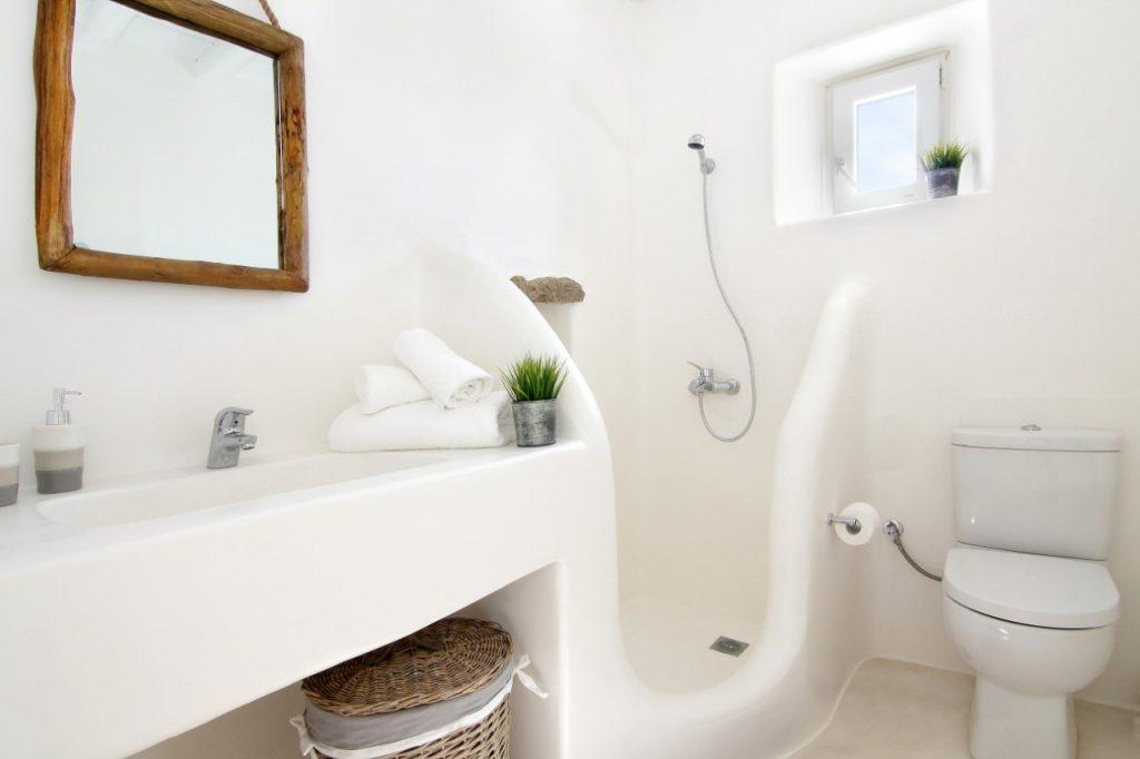 shower and toilet with white color with decorative flowers