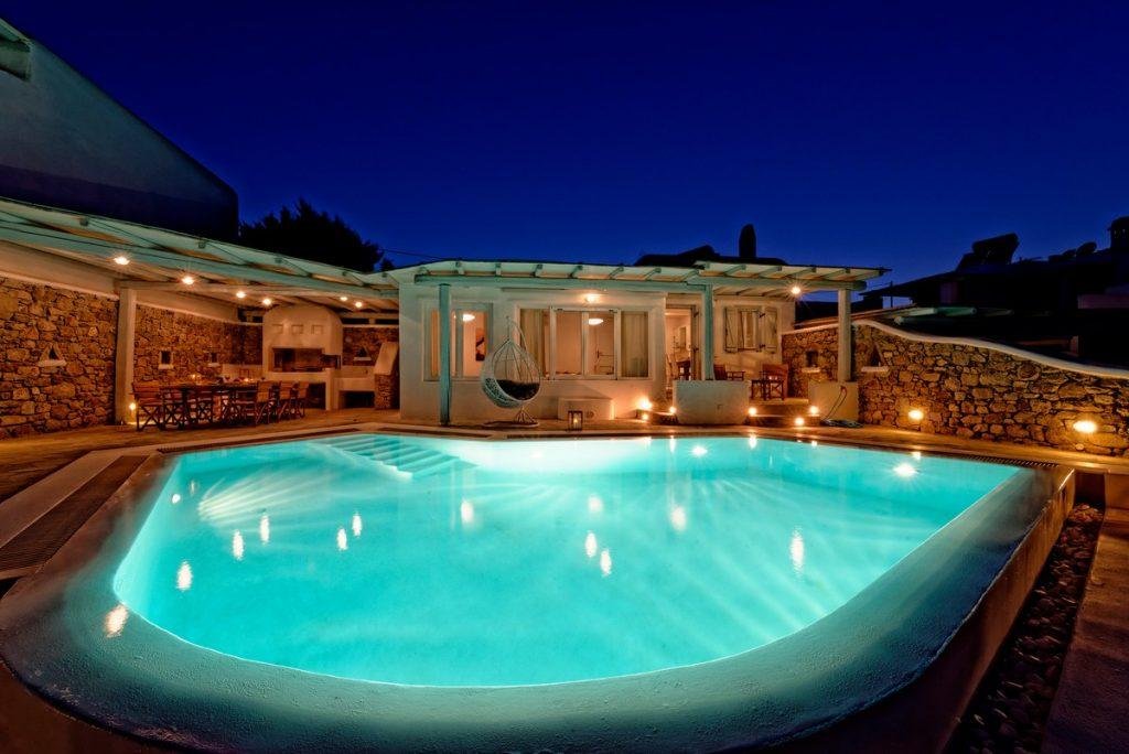 illuminated pleasant water pool ideal for summer night swimming