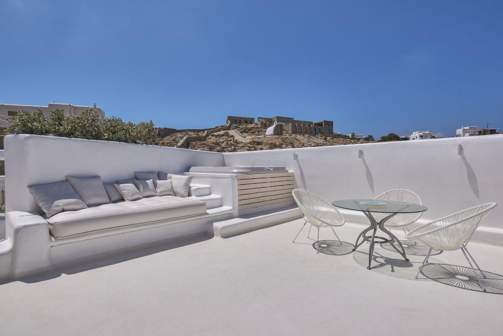terrace with comfortable and modern garden furniture