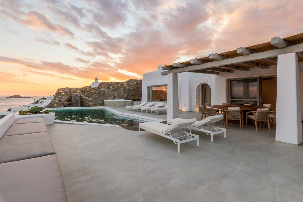 perfect place to enjoy evening and sunset over Mykonos island with your friends and family