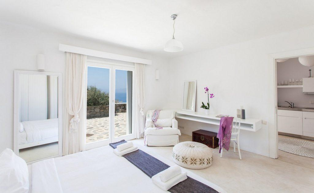 bedroom next to terrace with satisfying sea view