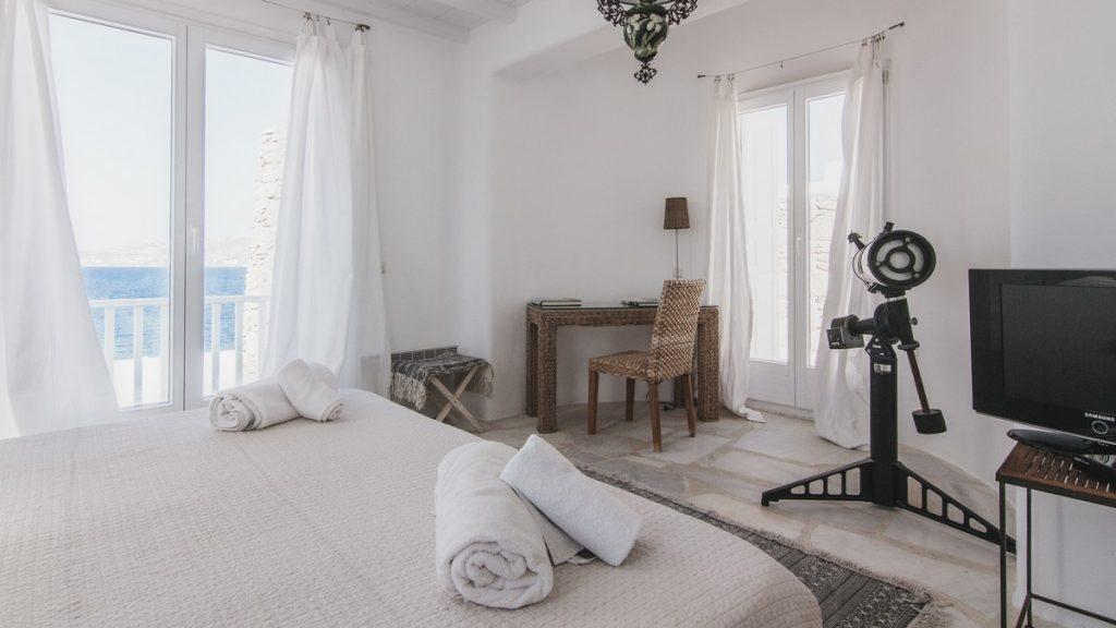 bedroom overlooking the glistening sea and lots of daylight