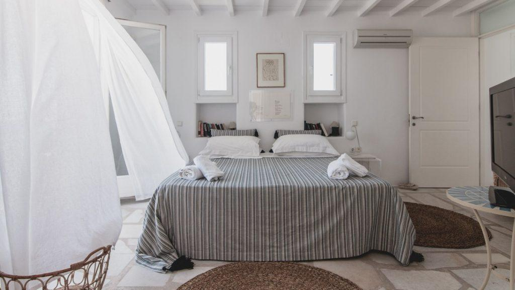 ideal bedroom for two with king size bed and large TV