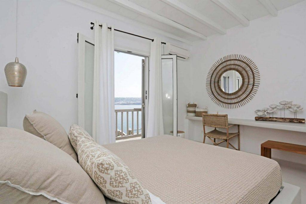 bedroom with sea view and comfortable king size bed